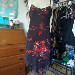 90's Brown Floral Summer Dress by Wild Cat